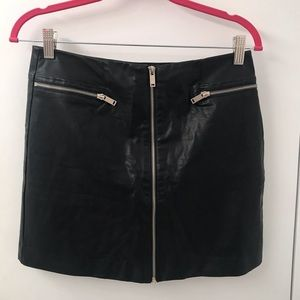 Black Vegan Leather Front Zip Skirt